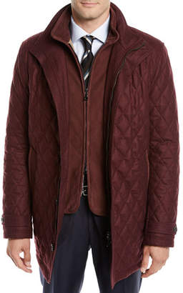 Neiman Marcus Men's Water-Resistant Diamond-Quilted Wool Zip-Front Coat