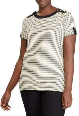 Lauren Ralph Lauren Plus Button Striped Top