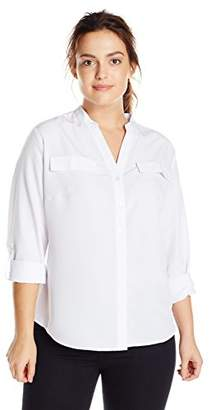 NY Collection Womens Plus Adjustable Sleeves Collarless Button-Down Top