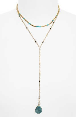 Women's Panacea Drusy Stone Layered Y-Necklace $34 thestylecure.com