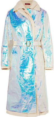 Sies Marjan Devin Layered Iridescent Coated-shell And Cotton-canvas Trench Coat