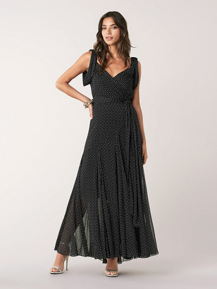 Diane von Furstenberg Belinda Crinkle Chiffon Maxi Wrap Dress