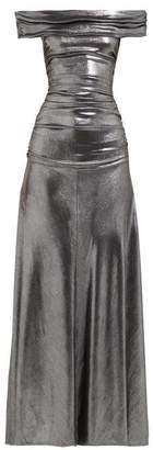 Maria Lucia Hohan Reem Metallic Jersey Off The Shoulder Maxi Dress - Womens - Silver