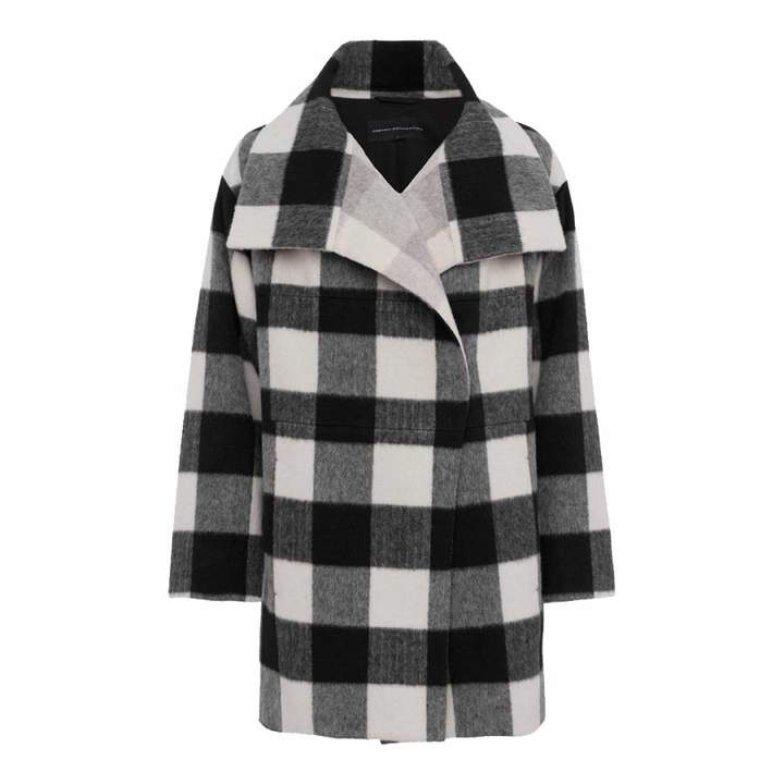 Black/White Jackie Checked Wide Collar Coat