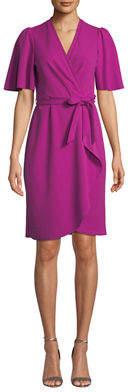 Donna Morgan Flutter-Sleeve Crepe Faux-Wrap Dress