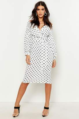 boohoo Polka Dot Off Shoulder Wrap Midi Dress