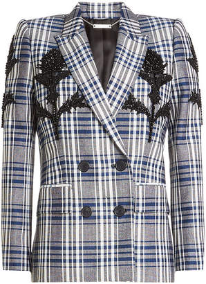 Alexander McQueen Embellished Virgin Wool Plaid Blazer