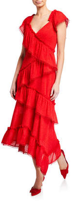 Three floor Tiered Rouge V-Neck Cap-Sleeve Ruffle-Trim Dress