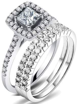 JeenJewels 2.42 Carat Princess cut Diamond Trio Bridal Set on Closeout Sale on 14k White Gold