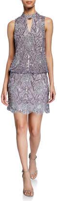Aidan Mattox Embellished Blouson Scallop Hem Dress