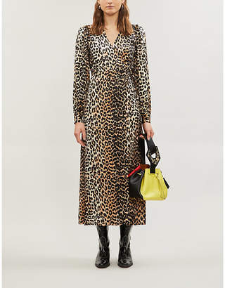 Ganni V-neck bishop-sleeve animal-print stretch-silk midi dress
