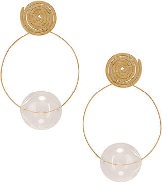 clear Modern Weaving Coil Orbital Hoops in Brass & | FWRD