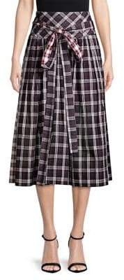 Marc Jacobs Academy Belted Plaid A-Line Midi Skirt