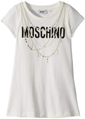 Moschino Kids Short Sleeve Logo Dress w/ Pearl Necklace Design Girl's Dress
