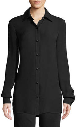 St. John Long-Sleeve Button-Front Silk Georgette Blouse w/ Side Slits