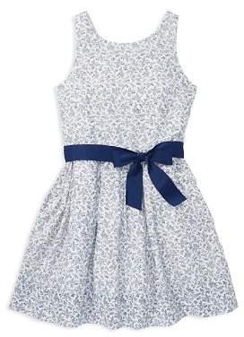Ralph Lauren Girls' Cotton Floral Dress with Sash - Big Kid