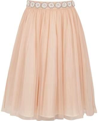 River Island Girls Pink pearl trim mesh ballerina skirt