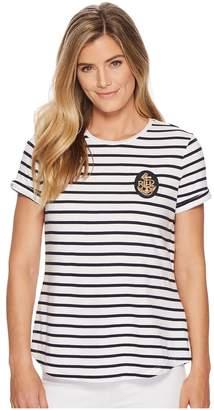 Lauren Ralph Lauren Bullion-Patch Striped T-Shirt Women's T Shirt