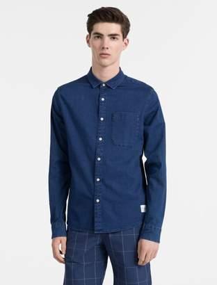 Calvin Klein slim fit chambray cotton stretch shirt