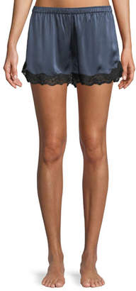 Neiman Marcus Lace-Trim Silk Lounge Shorts