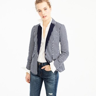 Puckered gingham blazer with navy lapel $188 thestylecure.com