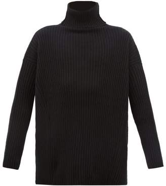 Ann Demeulemeester Grise Roll Neck Ribbed Wool Sweater - Mens - Black