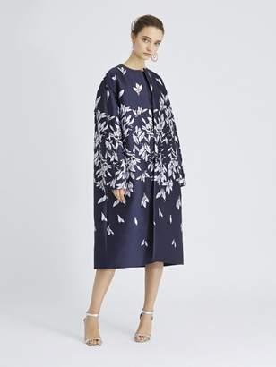 Oscar de la Renta Leaves and Berries Jacquard Coat