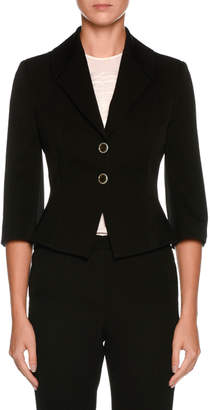 Giorgio Armani Two-Button 3/4-Sleeve Fitted Wool Jacket