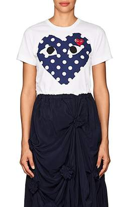 Comme des Garcons Women's Polka-Dot-Heart Cotton T-Shirt - White