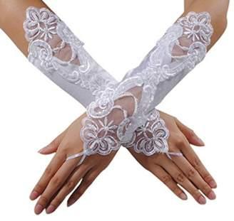 Lingduan Bride No Finger Lace Wedding Dress Glove Lace Glove