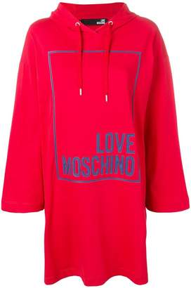 Love Moschino embossed logo hooded dress