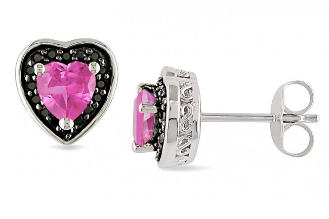 Ice 1/8 CT Black Diamond TW and 1 CT TGW Created Pink Sapphire Silver Heart Earrings
