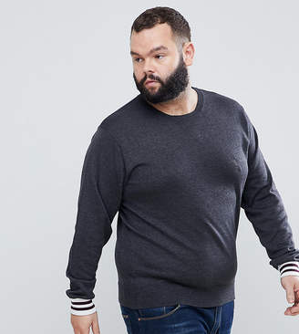 French Connection PLUS Crew Neck Knitted Sweater with Contrast Cuff