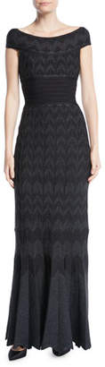 Herve Leger Off-the-Shoulder Chevron Metallic-Knit Evening Gown