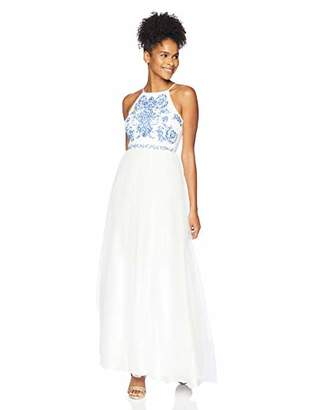 Speechless Junior's Junior's Full Length Formal Maxi Dress with Caviar Beading