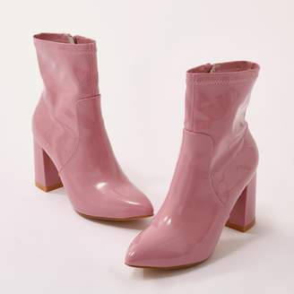 Public Desire Raya Pointed Toe Ankle Boots Patent