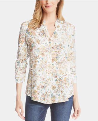Karen Kane Printed Shirred-Sleeve Button-Up Top