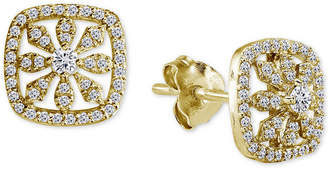 Giani Bernini Cubic Zirconia Pave Square Stud Earrings in 18k Gold-Plated Sterling Silver, Created for Macy's