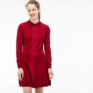 Lacoste Women's Polo Collar Colorblock Jersey Flared Sweatshirt Dress