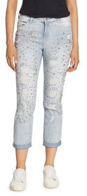 True Religion Embellished Rolled Boyfriend Jeans $289 thestylecure.com