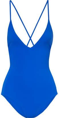 Emma Pake - Antonia Lace-up Swimsuit - Cobalt blue