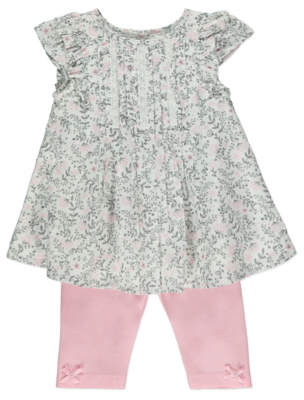George White Ditsy Floral Dress and Leggings Outfit