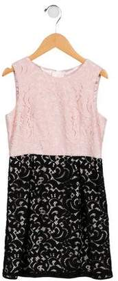 Milly Minis Girls' Guipure Lace Colorblock Dress