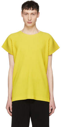 Issey Miyake Homme Plisse Yellow Pleated T-Shirt