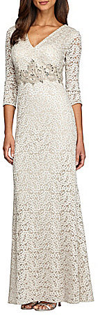 Alex EveningsAlex Evenings Beaded-Waist Lace Gown