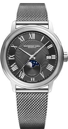 Raymond Weil Maestro Moon Phase Automatic Mesh Strap Watch, 40mm