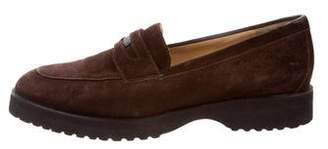 Chanel Suede Round-Toe Loafers
