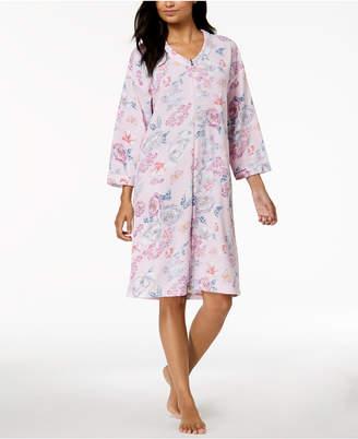 Miss Elaine Floral-Print Waffle-Brushed Robe
