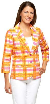 Liz Claiborne New York 3/4 Sleeve Plaid Print Blazer