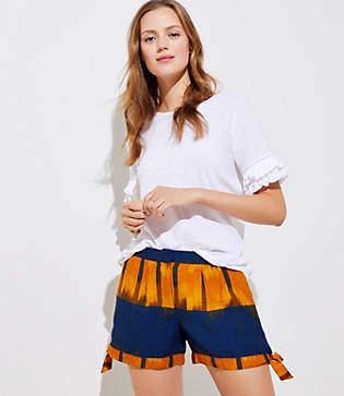 LOFT Petite Ikat Tie Cuff Shorts